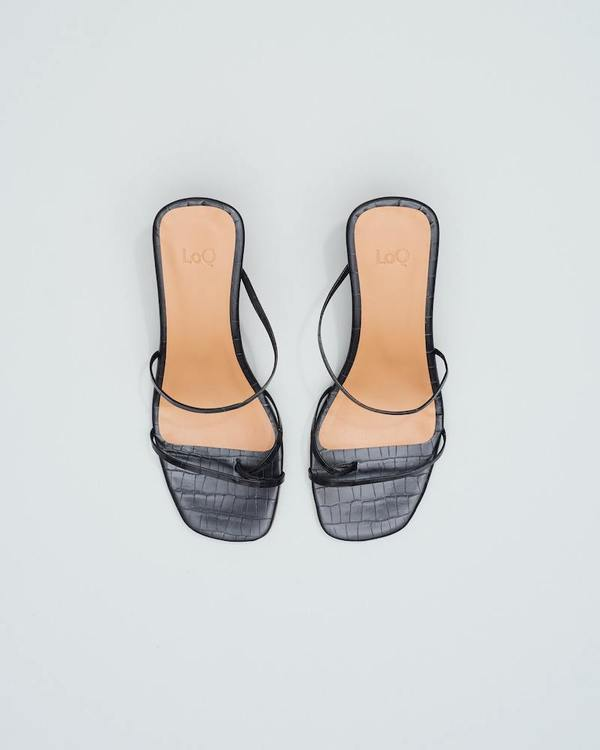 LOQ Manola sandal - Black Croc