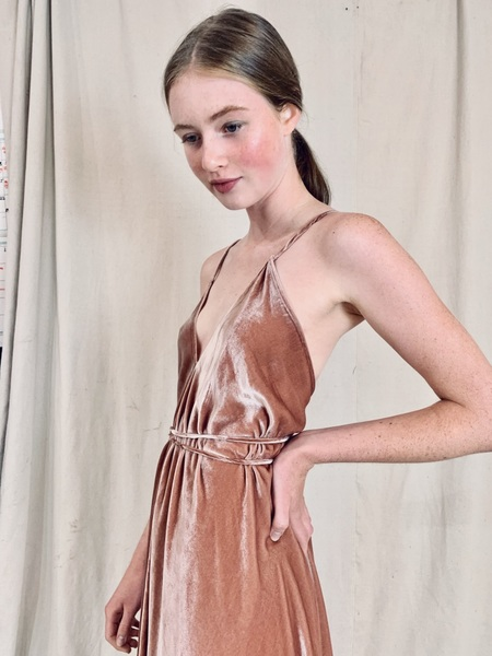 Anderst Isabel A-line Halter Velvet Dress - Blush