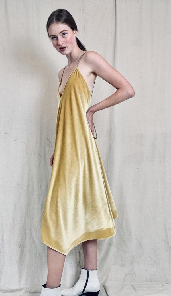 Anderst Isabel A Line Halter Velvet Dress Yellow Garmentory