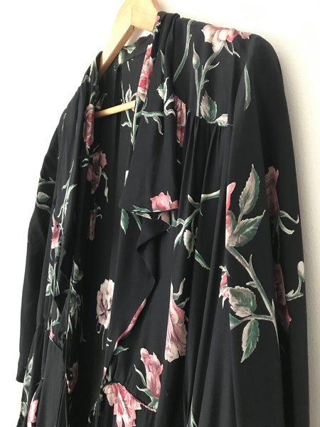 Vintage 1940's Floral Rayon Maxi Coat Dress