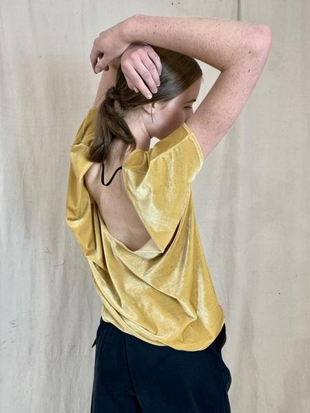 Anderst Dita Asymmetric Open Back Velvet Top - Yellow
