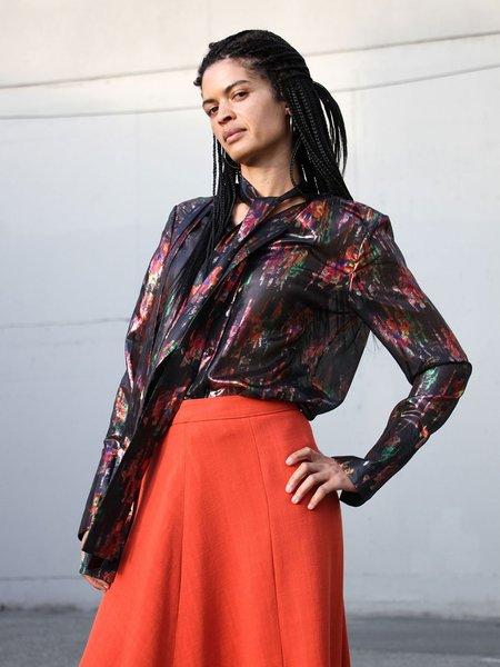 ARIAS Tie Neck Blouse - Metallic Floral