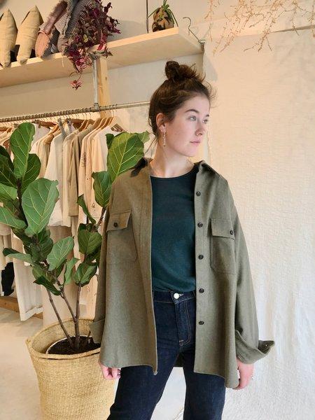 Girls of Dust Elba Wool Deck Shirt - Khaki