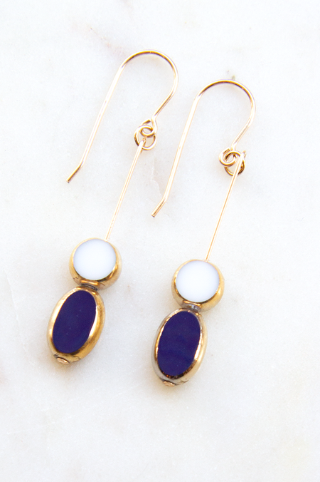 I. Ronni Kappos Circle With Oval Drop - White/Blue