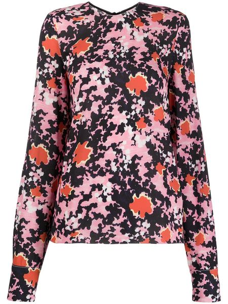 MARNI Long Sleeve Crew Neck Blouse - Pink Candy