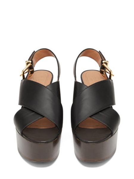 MARNI Wedge Wood Sandal - Black