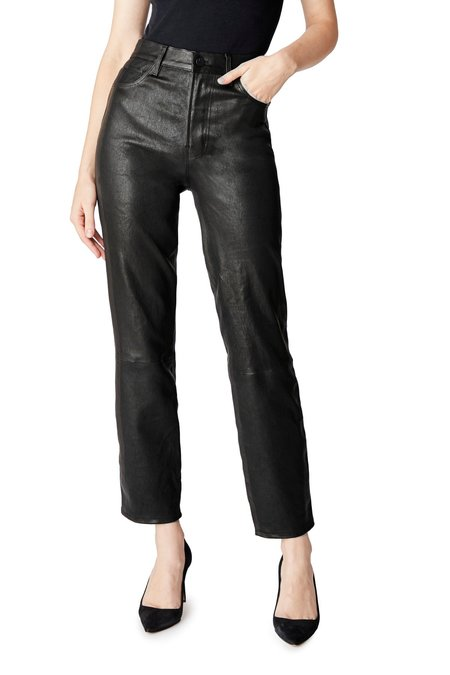 J Brand Jules High-Rise Straight Leather Pant - Black