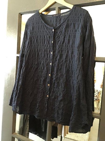 cut-loose Crinkle Cotton Blouse - Black/Navy Blue Check