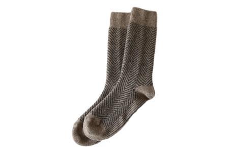 Restfolk Herringbone Wool Socks - Beige