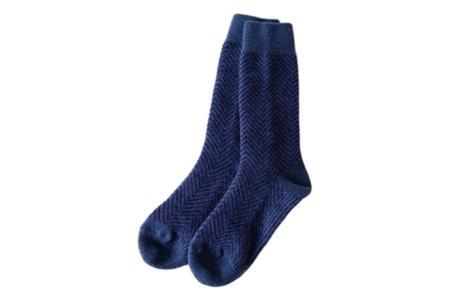 Restfolk Herringbone Wool Socks - Blue
