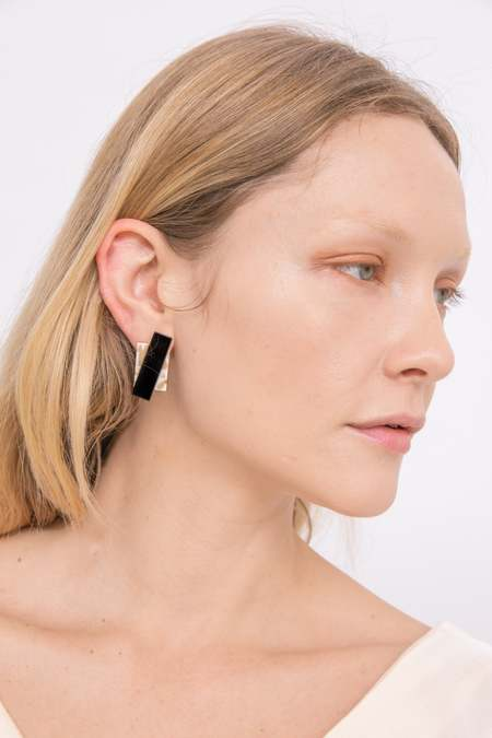 Matter Matters Double Rec Earrings - Beige Marble/Black