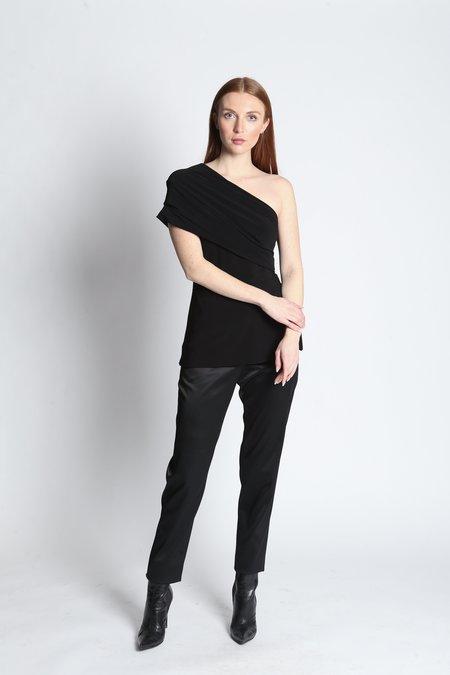 Narces Jersey One Shoulder Top - Black