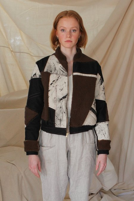 AndAgain Patchwork Shearling Bomber