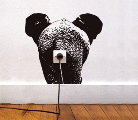 Domestic Wall Sticker Elephant Design By Adrien Gardere