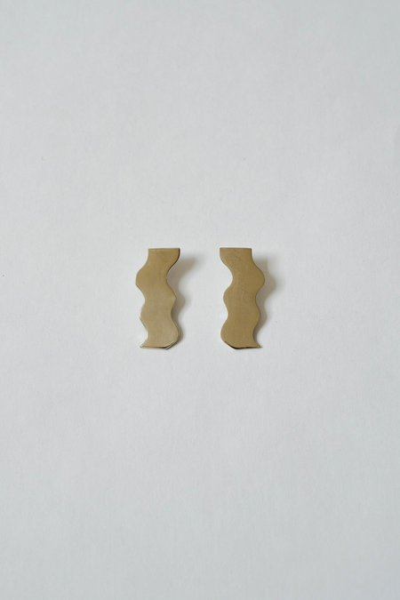 Arc Objects Shoreline Earrings - White/Brass