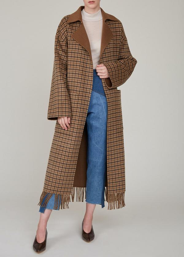 Nanushka Alamo Robe Coat Brown Check Pattern Garmentory