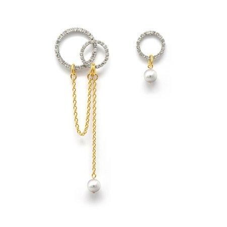 Joomi Lim Asymmetrical Crystal Hoop & Double Hoop Earrings W/ Pearl Drops