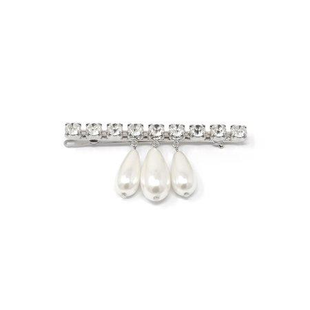 Joomi Lim Crystal Bar Hair Clip W/ Tear Drop Pearls