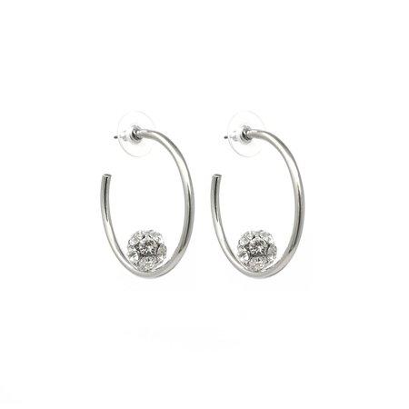 Joomi Lim Small Hoop Earrings W/ Affixed Crystal Balls - Rhodium/Crystal