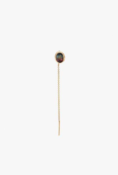Fie Isolde Alfa Threader Earring Medium with Precious Stone