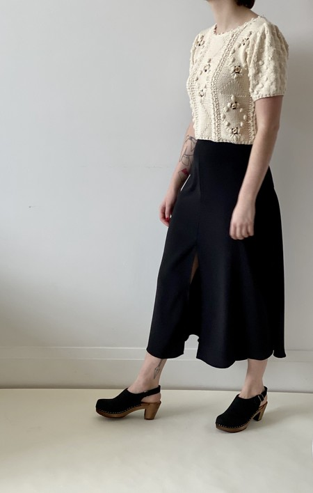 Vanessa Bruno High Waisted Midi Skirt with Front Slit - Black