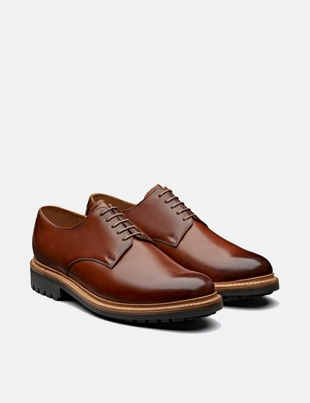 Grenson Curt Hand Painted Leather Derby Shoes - Tan
