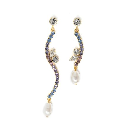Joomi Lim Asymmetrical Curved Crystal Earrings with Pearl Drops - Gold