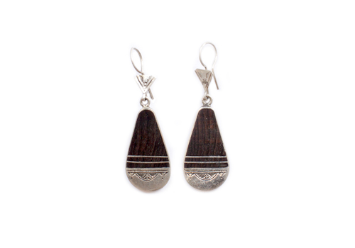 TUAREG EBONWOOD AND SILVER PADDLE HOOK EARRINGS