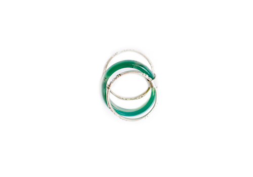 TUAREG LARGE GREEN AGATE RING WITH STACKED SILVER RINGS