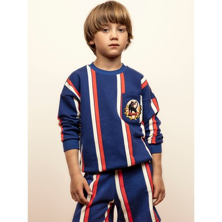 kids mini rodini striped sweat pant - blue