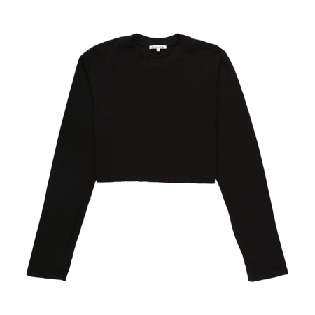 Cotton Citizen Tokyo Cropped Long Sleeve T-Shirt - Jet Black