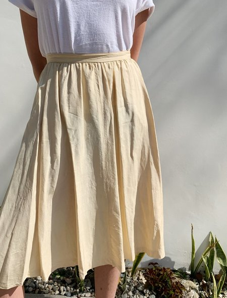 Vintage Christian Aujard Silk Pleats Skirt - Buttercream