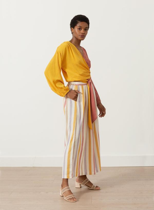 Seek Collective Silk Jacquard Paige Top - Sunset Ripple