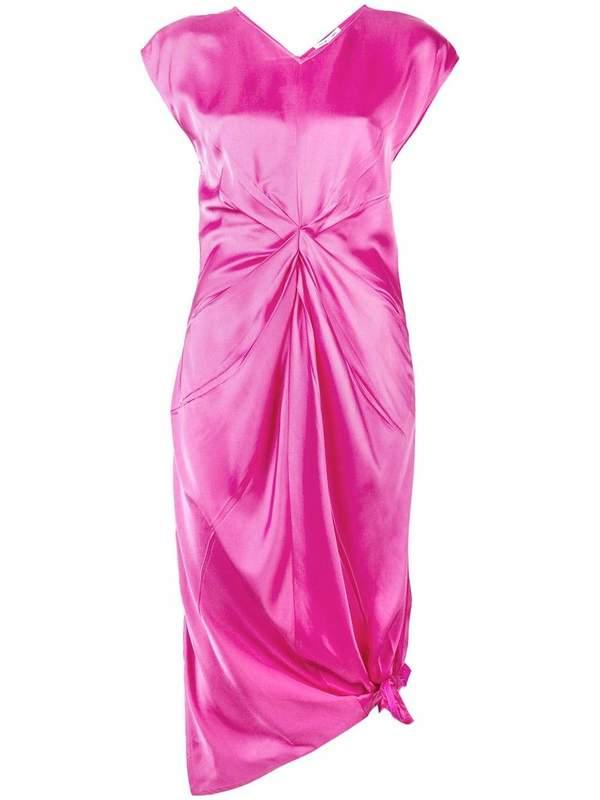Helmut Lang Knot Silk Dress - Pink