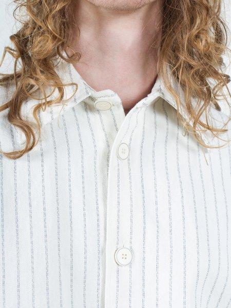 Sefr Mats Overshirt - Off White/Dark Navy Stripe