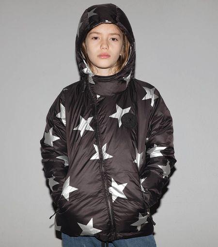 Kids Nununu Silver Star Down Jacket - Black