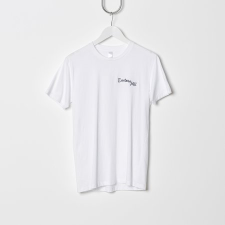 UNISEX Eastern Hill General Supplies Chain Stitch Embroidered Tee - White/Royal