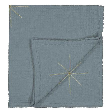 Kids Moumout Paris Panpan Blanket With Embroidered Gold Stars - Cool Blue