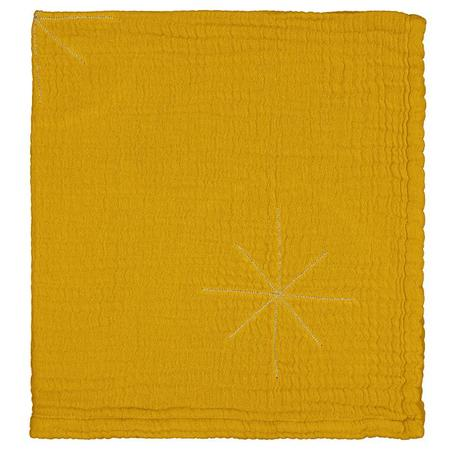 Kids Moumout Paris Panpan Blanket With Embroidered Gold Stars - Mustard Yellow