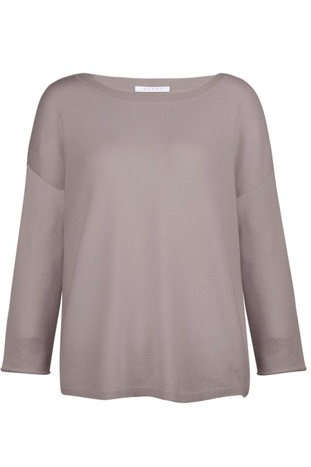 Duffy Curved Scoop Neck Cashmere Sweater - Gilda Grey