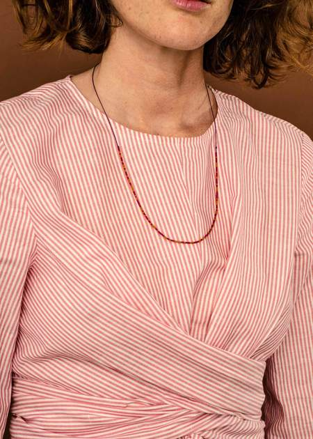 Zelda Murray Bead Necklace - Ochre/Fuchsia