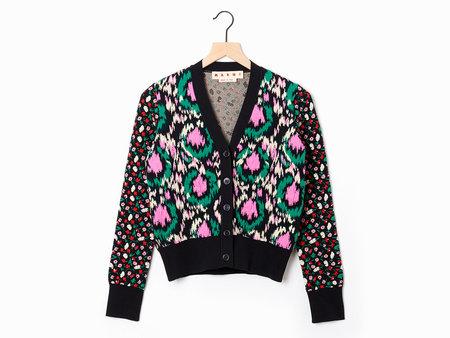 Marni Jacquard Cardigan - Black/Pink