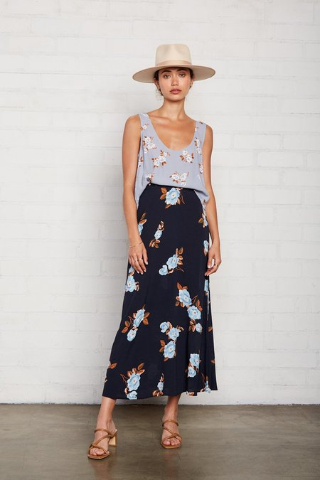 Rachel Pally Crepe Midi Skirt - Black Flower