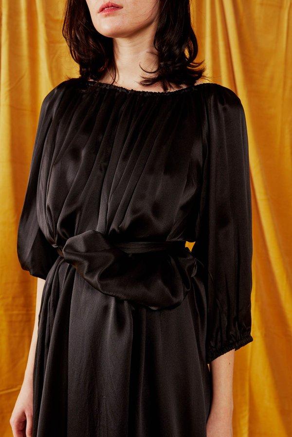 Miranda Bennett Cassett Silk Charmeuse Dress + Belt - Black