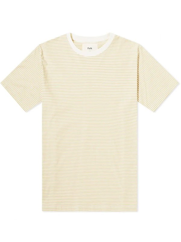 Folk 1x1 Stripe T-Shirt - Fawn Ecru