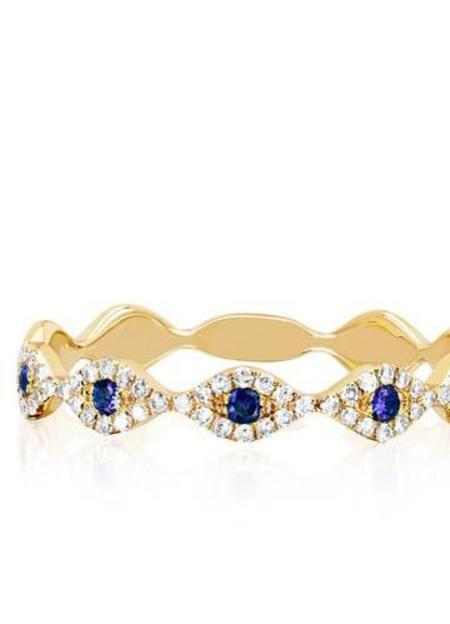 EF Collection Diamond Blue Sapphire Multi Evil Eye Stacking Ring