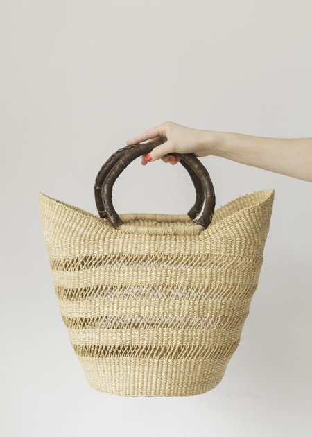 C+L Finds Natural Lacey Wing Shopper with Leather Handles
