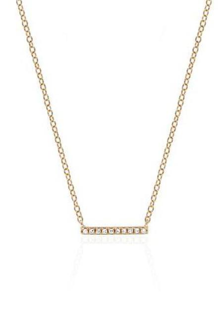 EF Collection Diamond Mini Bar Necklace - ROSE GOLD