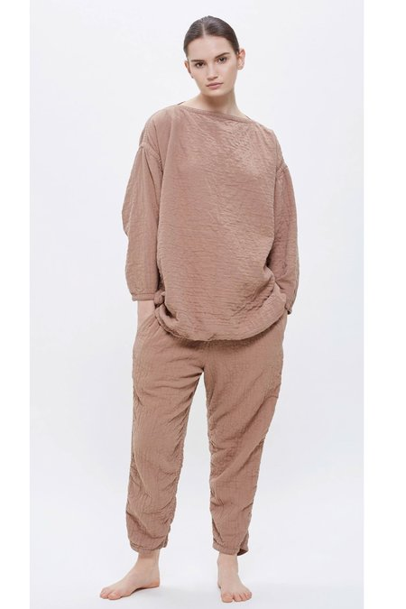 Black Crane Loose Pullover Top - Camel