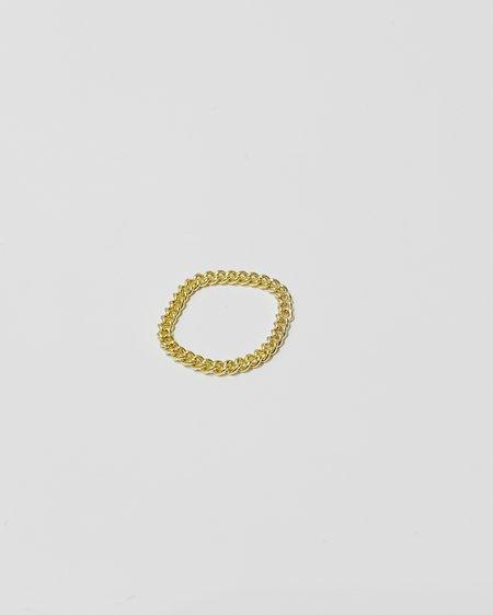 Gem & Blue Curb Chain Ring - Gold